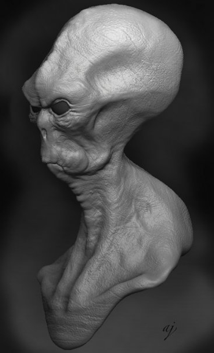Zbrush Grey Alien. Concept Adam Johansen.
