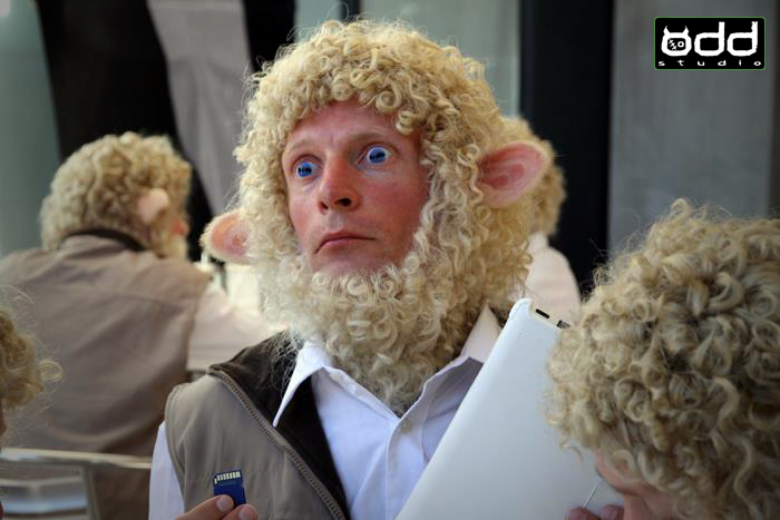 Toshiba Sheeple: Commercial. Odd Studio produced a bunch of 'Sheeple' make ups for a Toshiba commercial which also features the Wolfman.